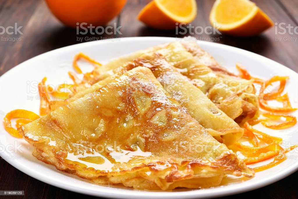 Crepes Suzette, close up view stock photo