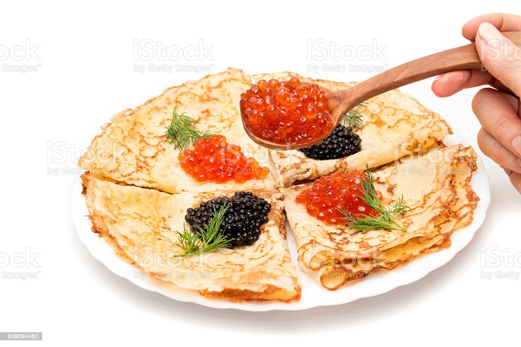 crepes with black and red caviar stock photo