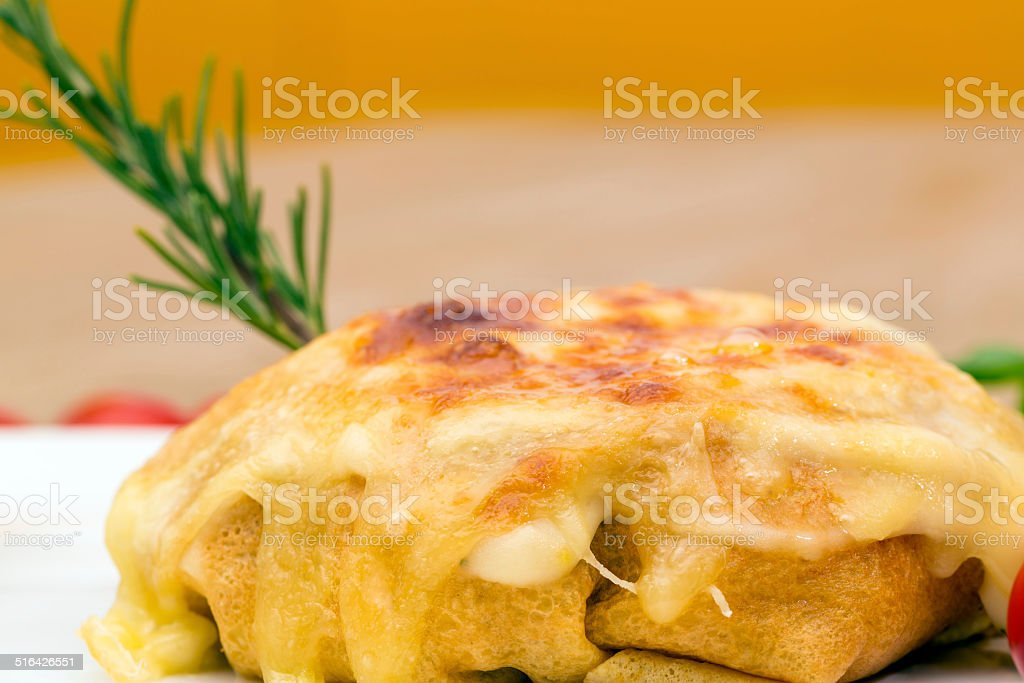 Crepes with chicken and mushroom stock photo
