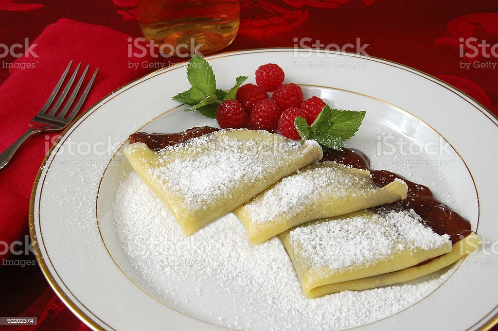 Crepes with Chocolate royalty-free stock photo