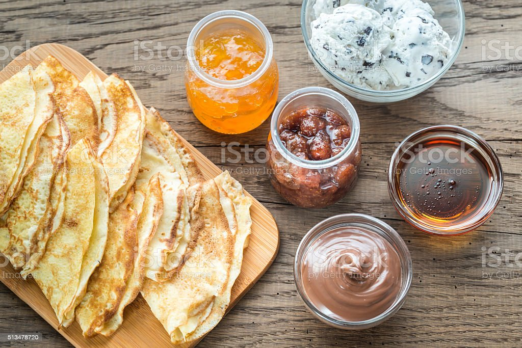 Crepes with different options of toppings stock photo