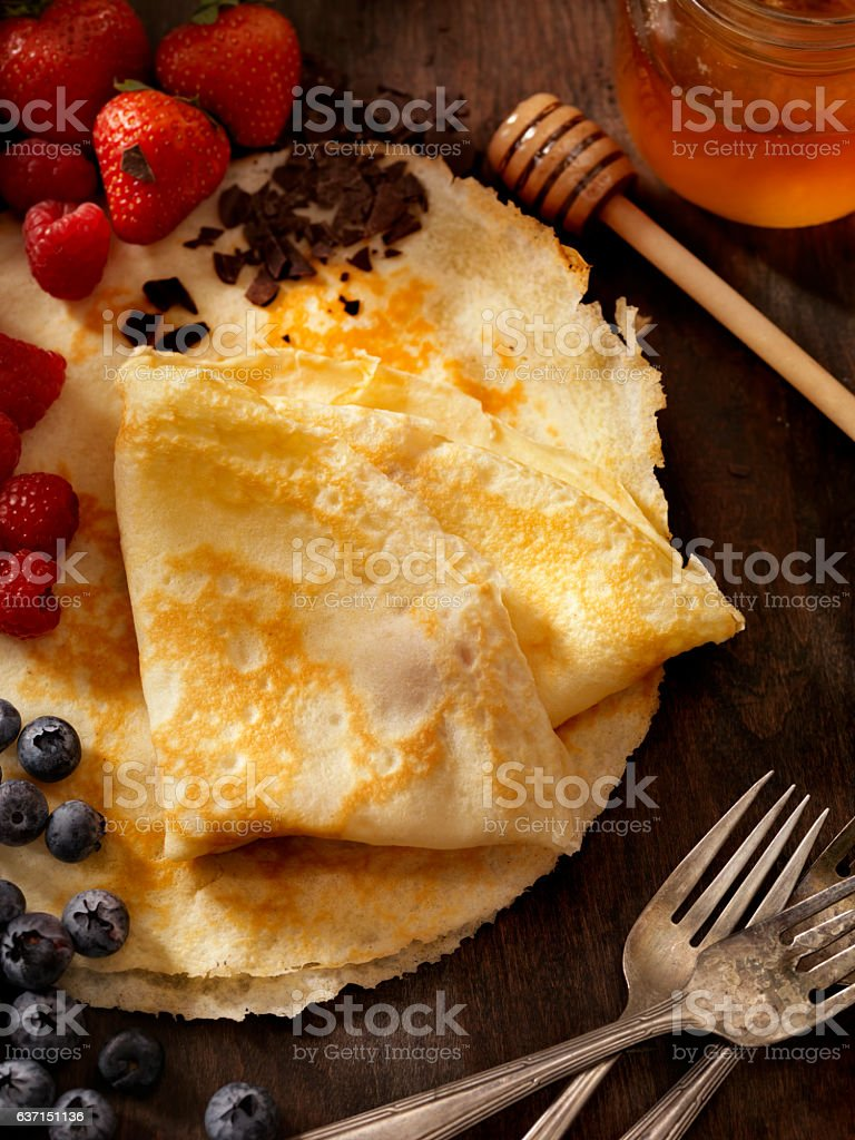 Crepes with Fresh Berries stock photo