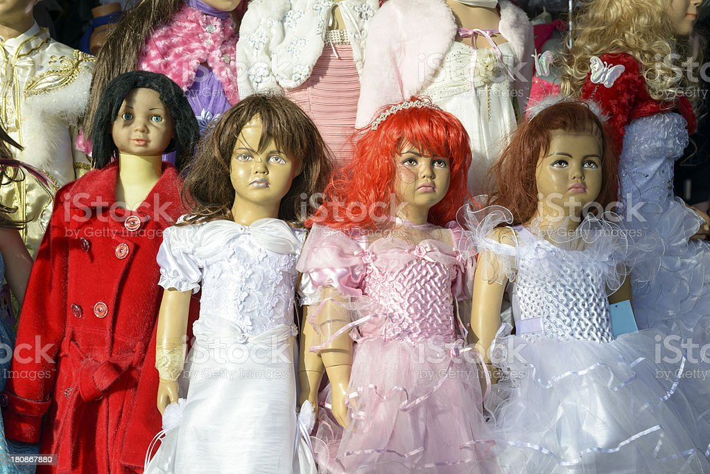Creppy-looking dolls royalty-free stock photo