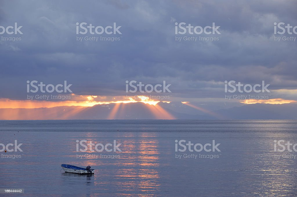 Crepuscular rays of sunset royalty-free stock photo