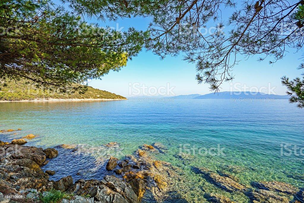Cres Island, Croatia: View from beach promenade to the sea stock photo
