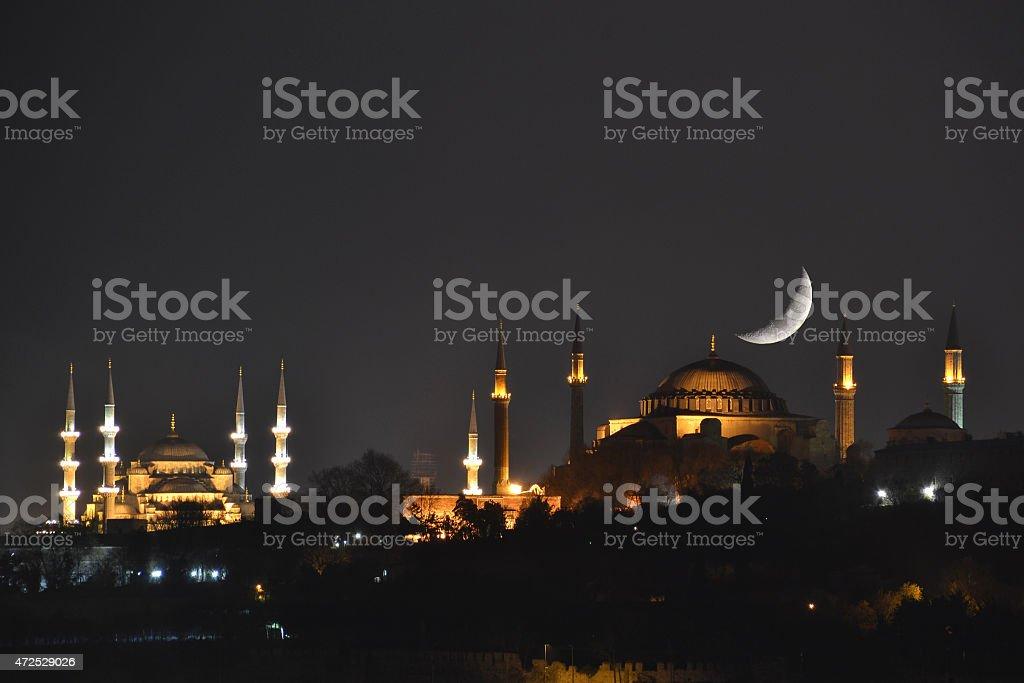 Crescent and Hagia Sophia stock photo