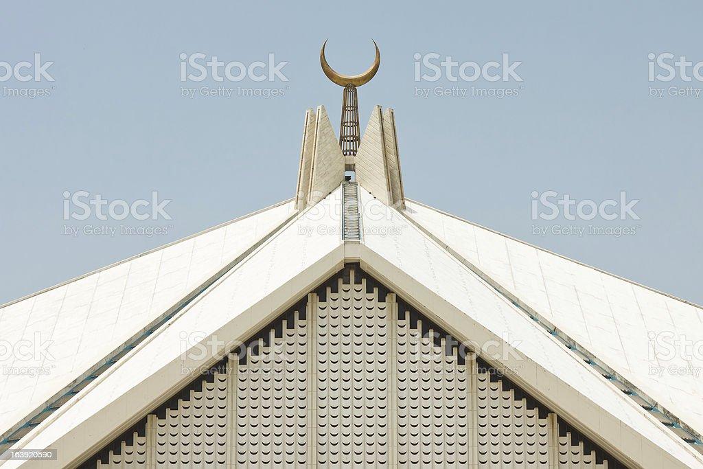 Crescent at Faisal Mosque, Islamabad, Pakistan stock photo