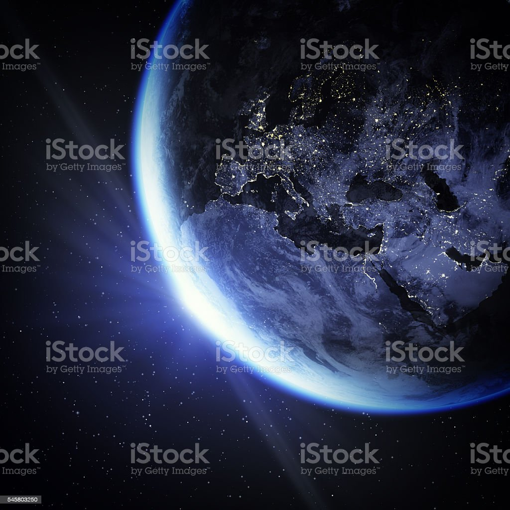 Crescent Earth viewing from space to Europe with sun flare.