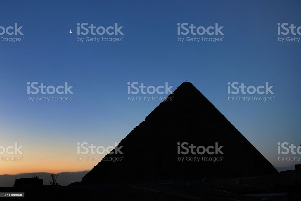 Crescent Moon and The Great Pyramid of Giza royalty-free stock photo