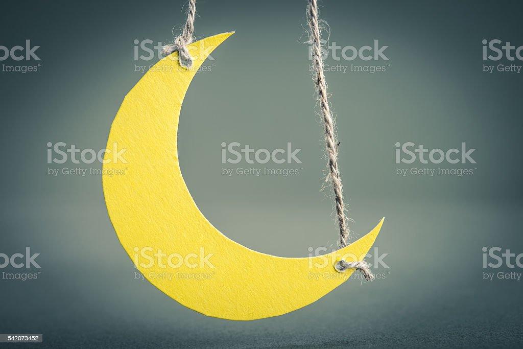 Crescent moon miniature stock photo
