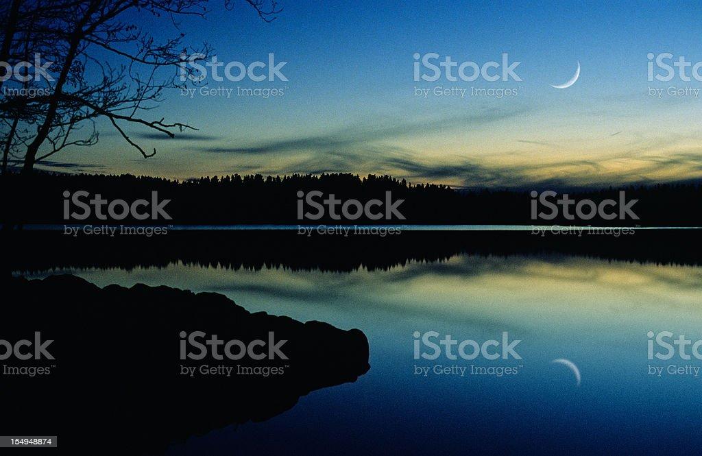Crescent Moon on twilight sky royalty-free stock photo