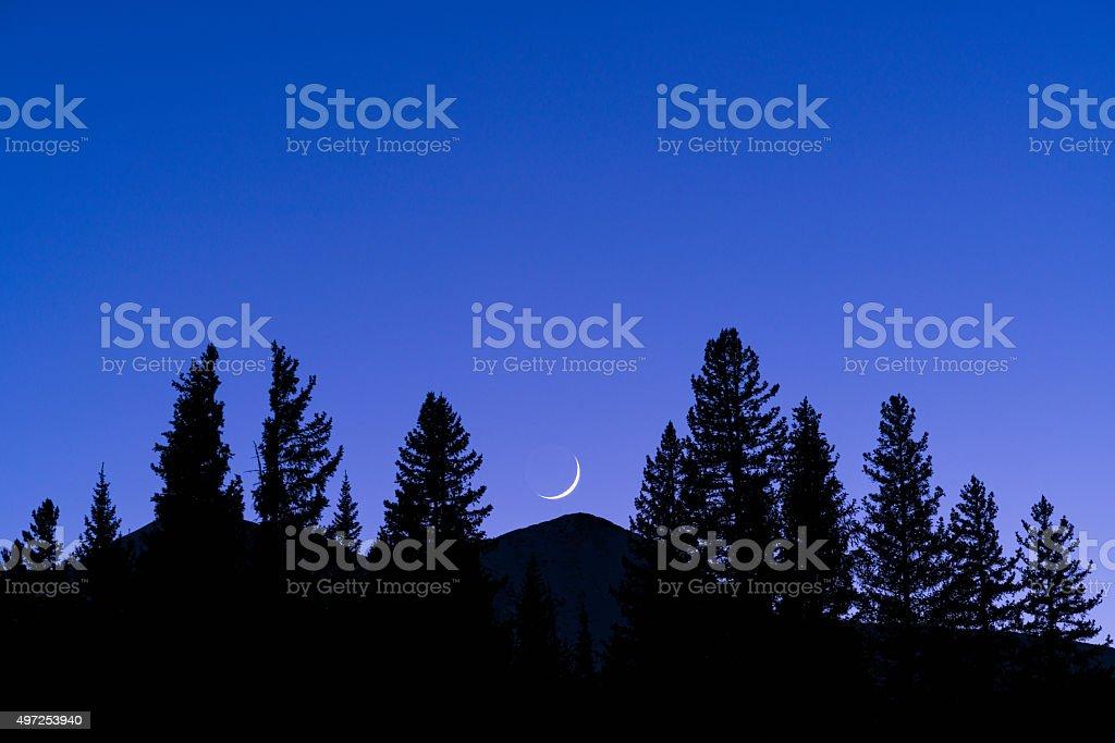 Crescent Moon Over Peak 8 Breckenridge stock photo