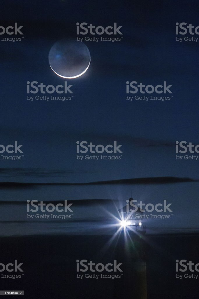 Crescent Moon over Pigeon Point stock photo