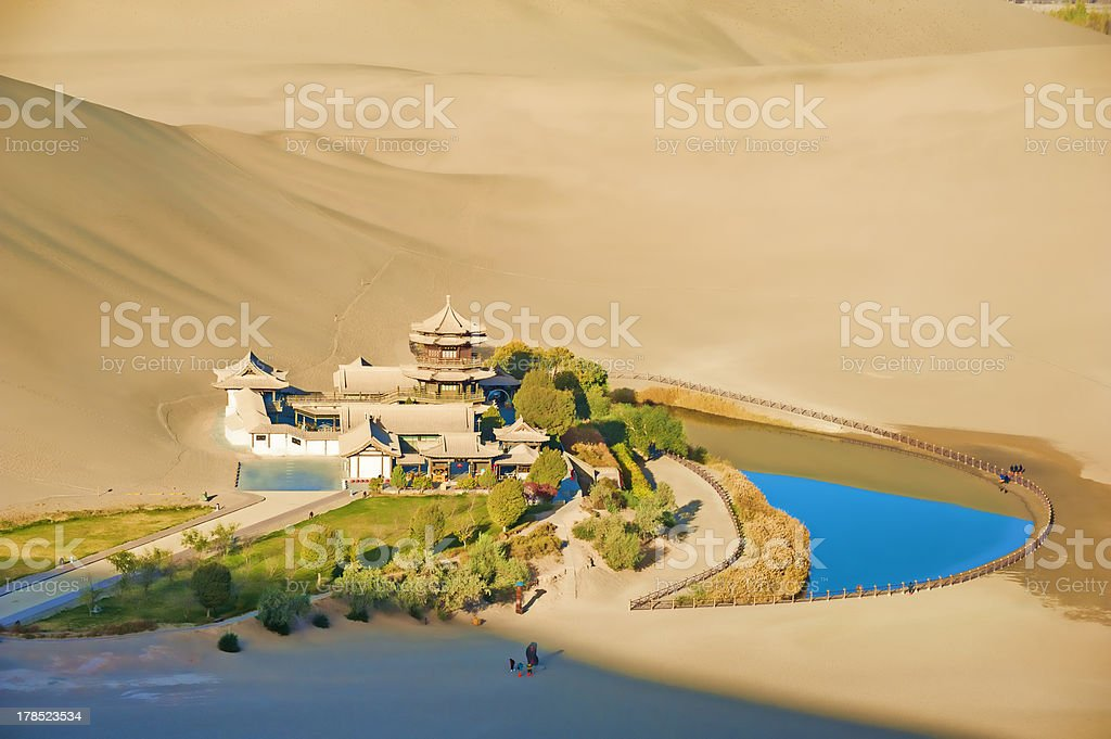 Crescent Spring and Mingyue Pavilion in the morning, Dunhuang royalty-free stock photo