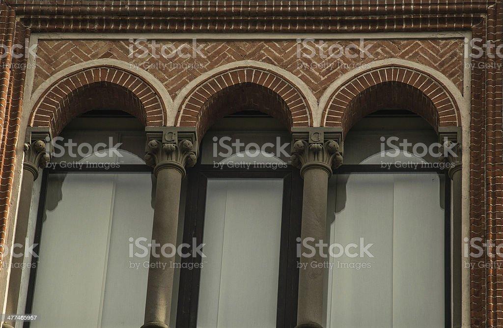 particolare di facciata Crespi d'Adda stock photo