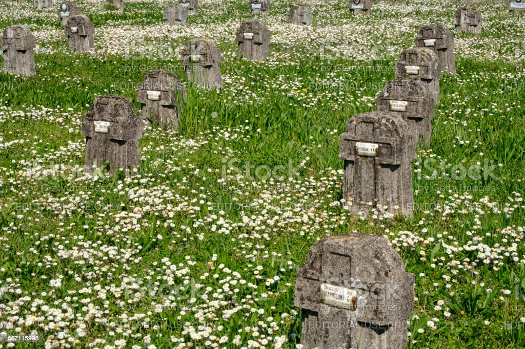 Crespi d'Adda (Italy), historic industrial village, cemetery stock photo