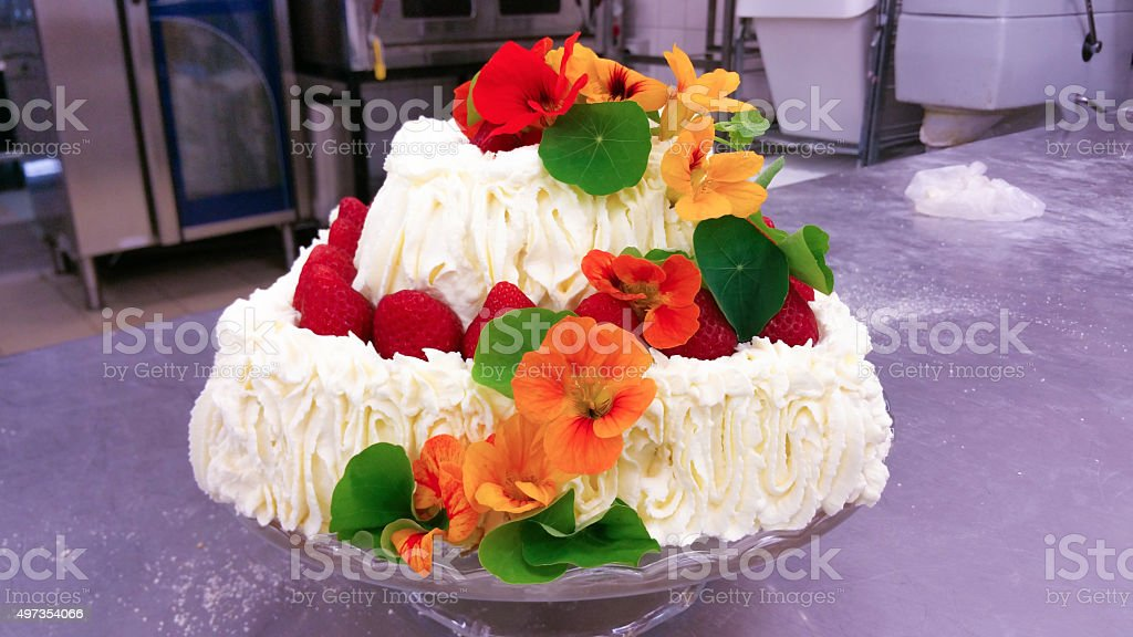 Cress flowers on a cake stock photo