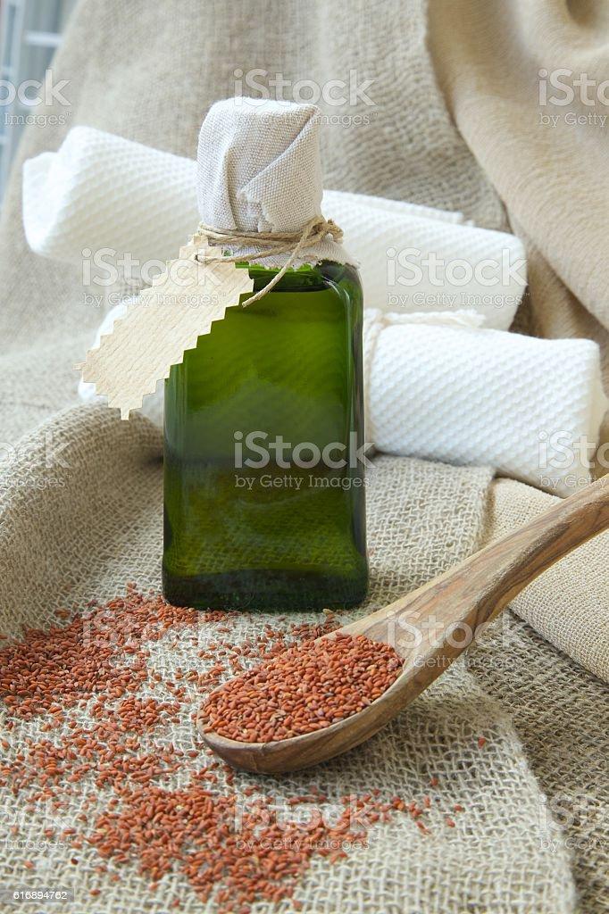 Cress seeds oil stock photo