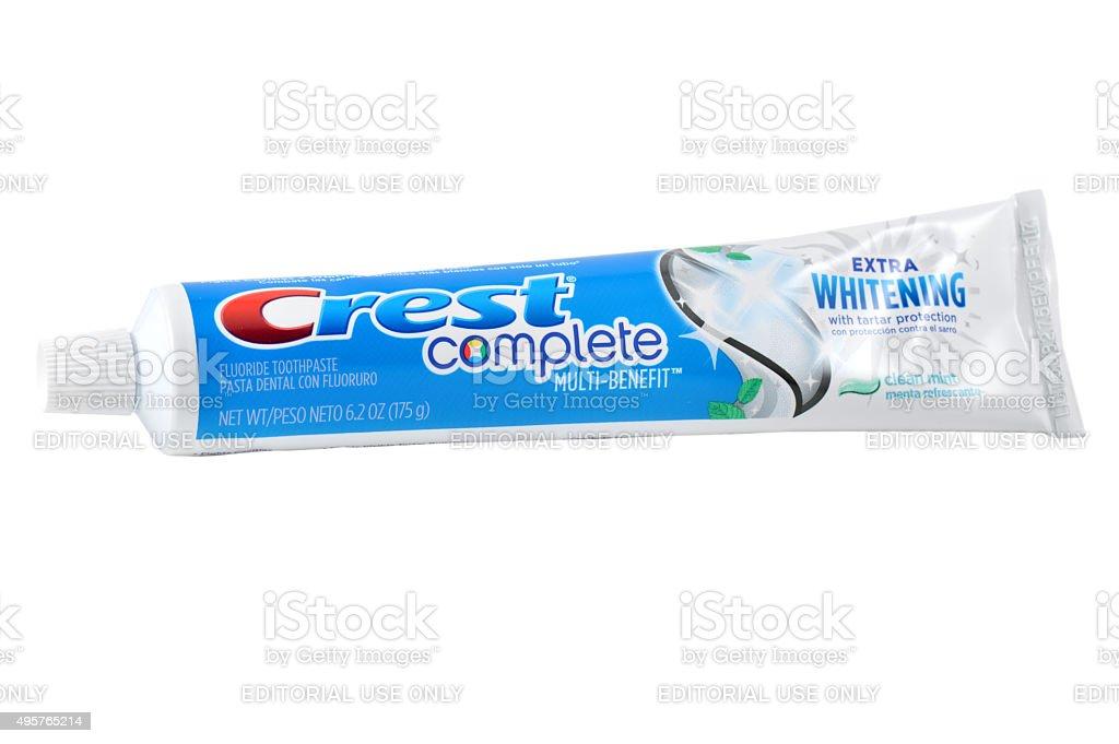 Crest Complete Extra Whitening Toothpaste stock photo