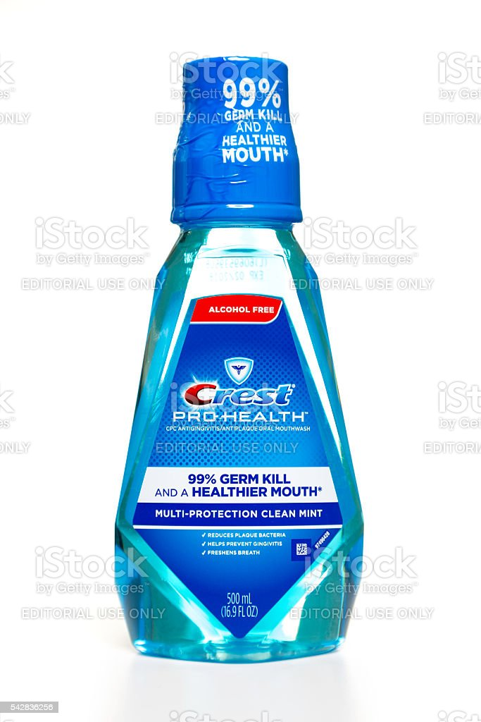 Crest Pro Health mouth rinse bottle stock photo