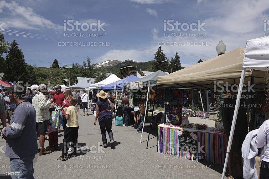 Crested Butte, Colorado downtown farmer's market. stock photo