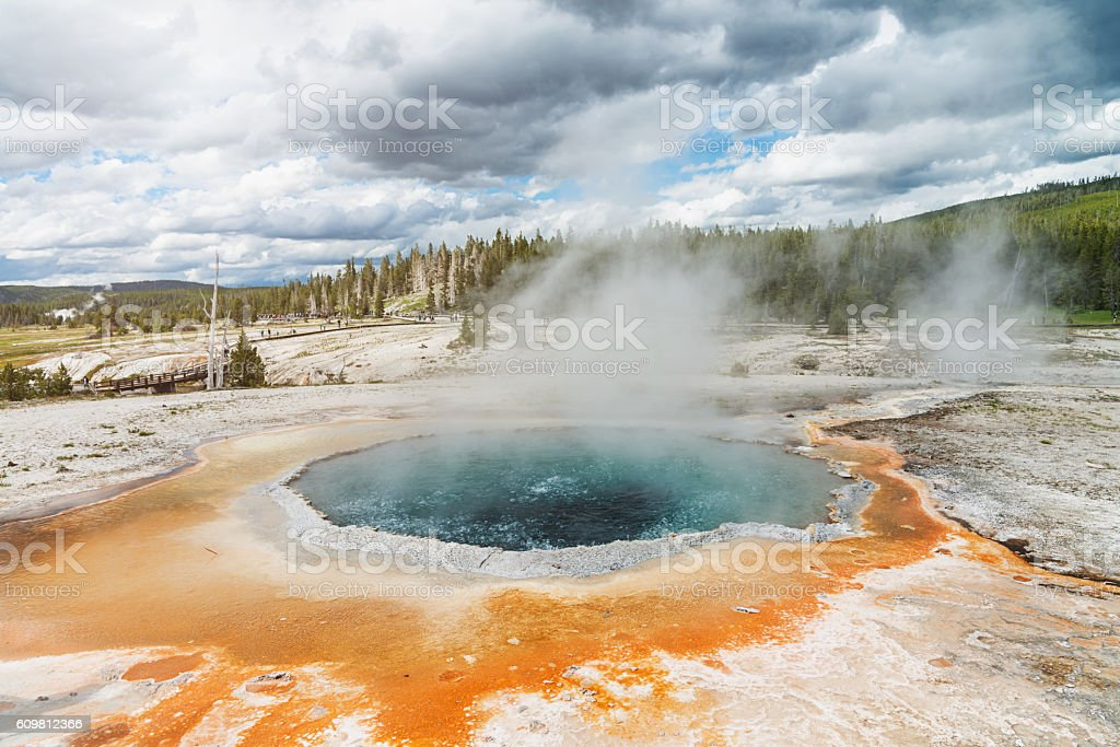 Crested Pool Upper Geyser Basin Yellowstone National Park Wyoming USA stock photo