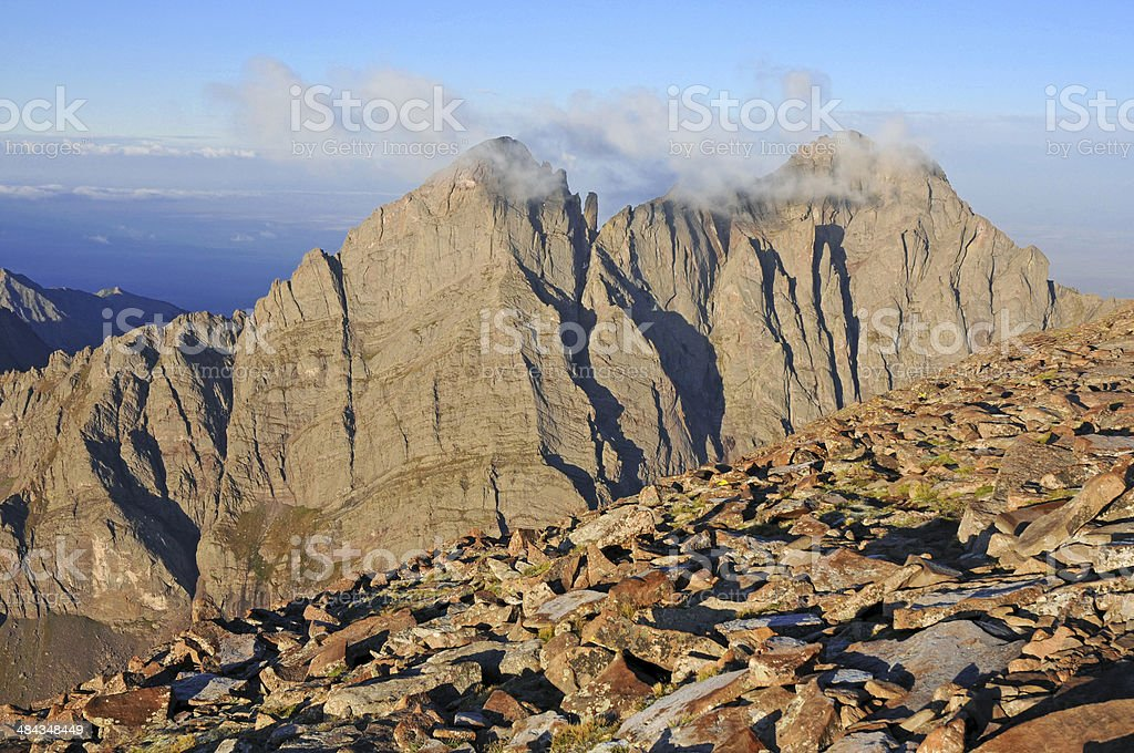 Crestone Peak, Sangre de Cristo Range, Rocky Mountains Colorado stock photo