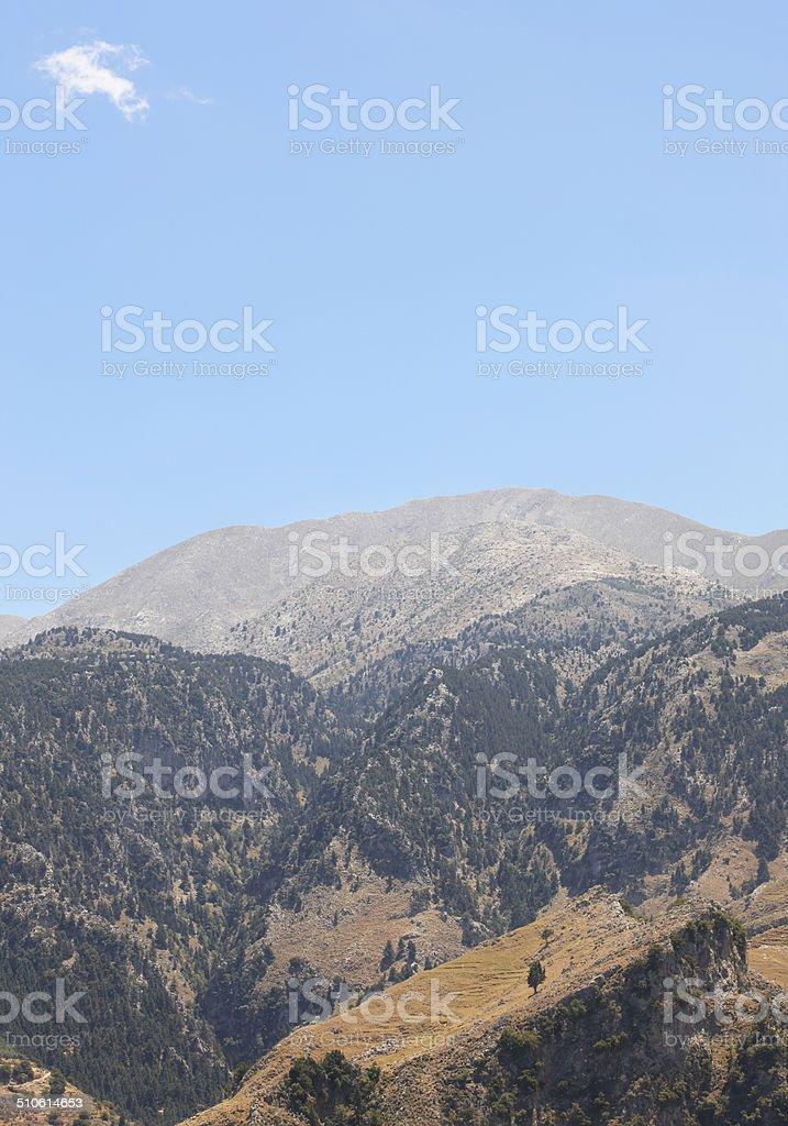 Cretan landscape with forest. Lakki viewpoint stock photo