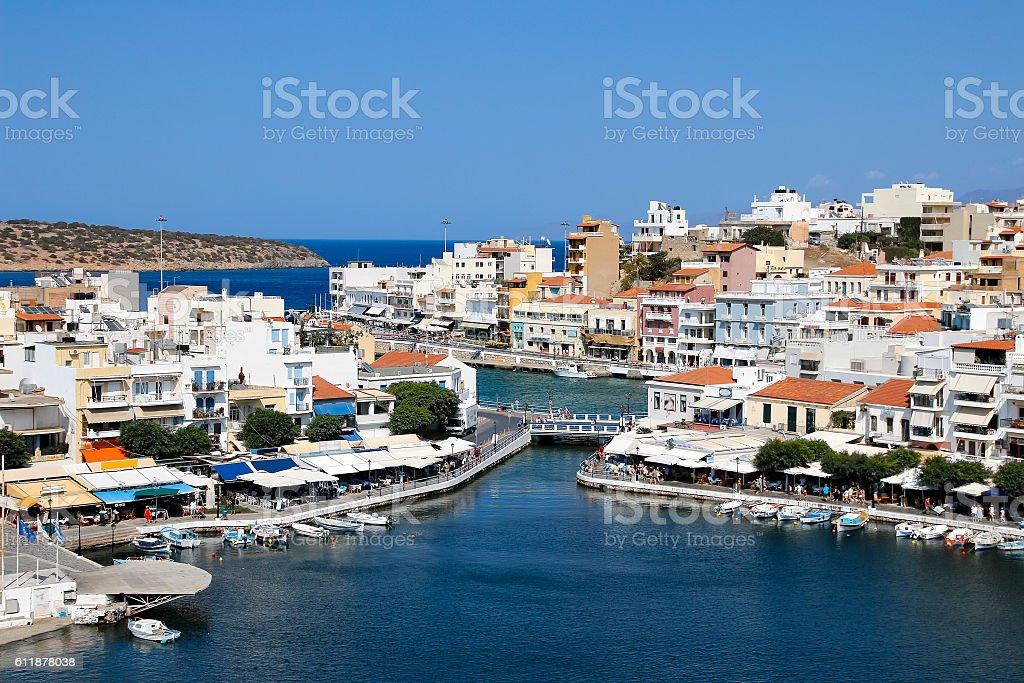 Crete. Greece. Agios Nikolaos. Panorama. Lake Voulismeni. stock photo