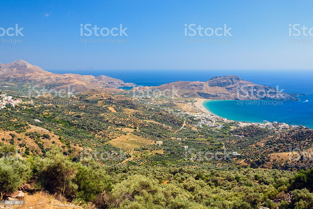 Crete island in summer, view on valley near Plakias town stock photo