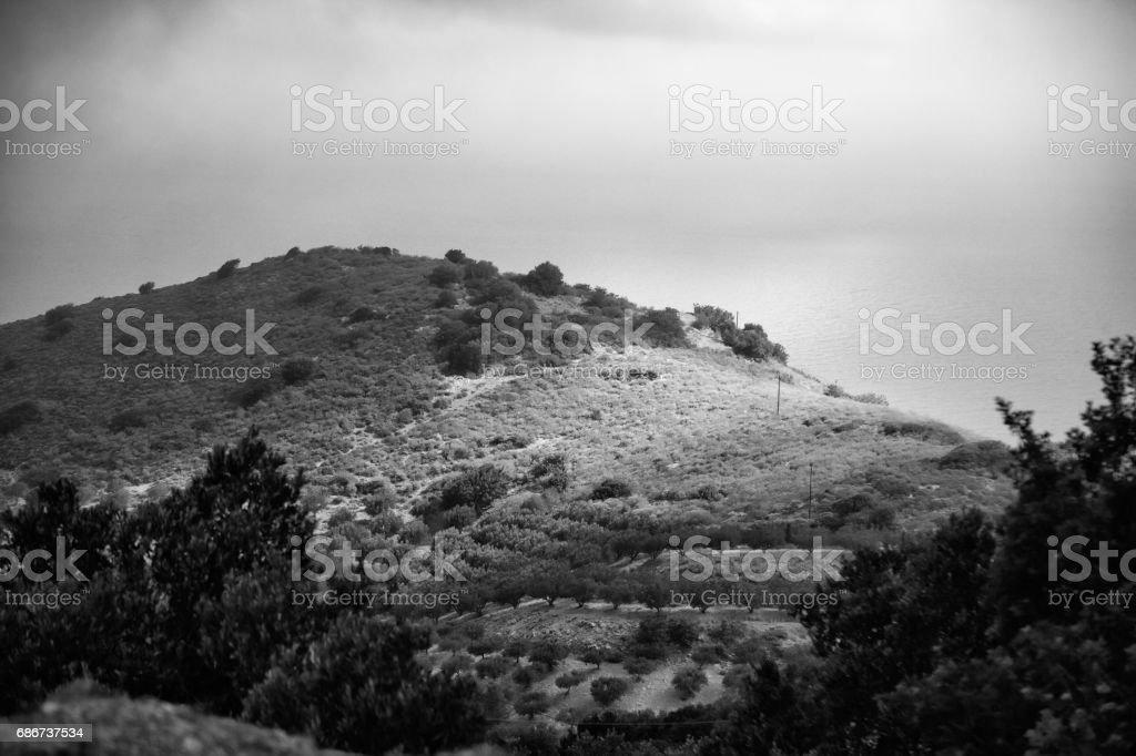Crete Island landscape in rainy day in black and white stock photo