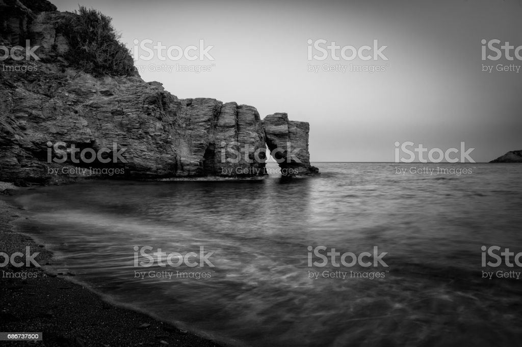 Crete Island Rocks At Evening stock photo