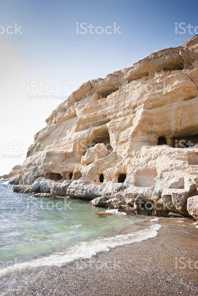 Crete Matala Hippie Caves royalty-free stock photo