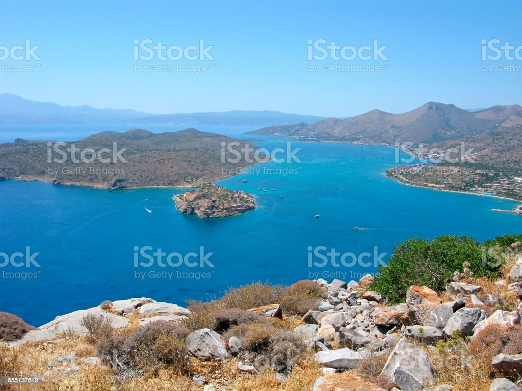 Crete, Mirabello bay with Spinalonga fortress stock photo