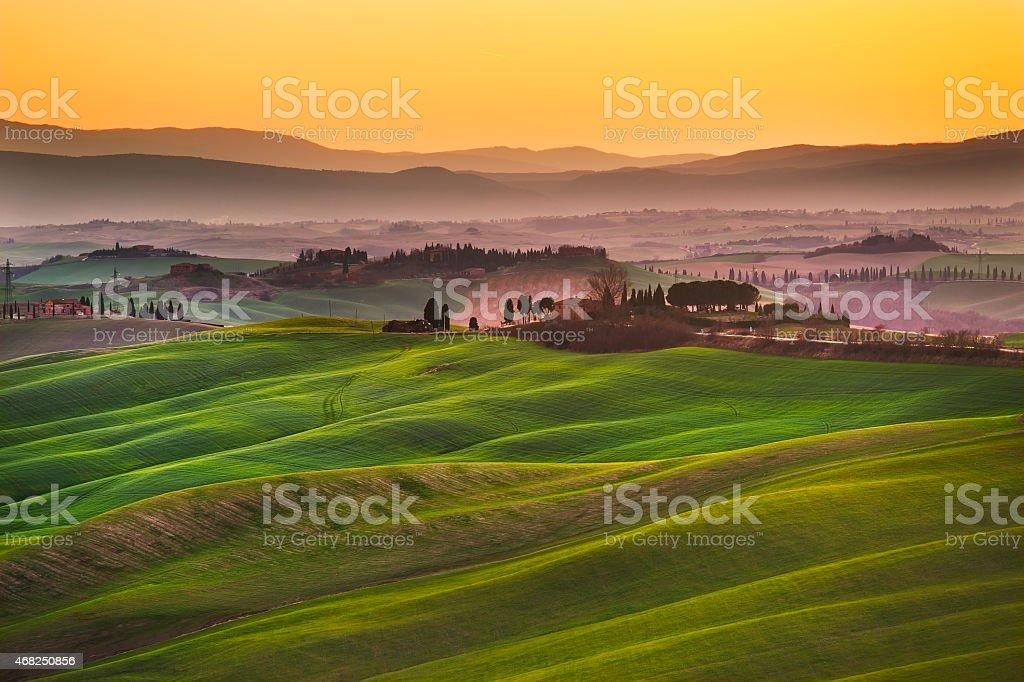 Crete senesi, rolling hills on sunset. Rural landscape near Sien stock photo