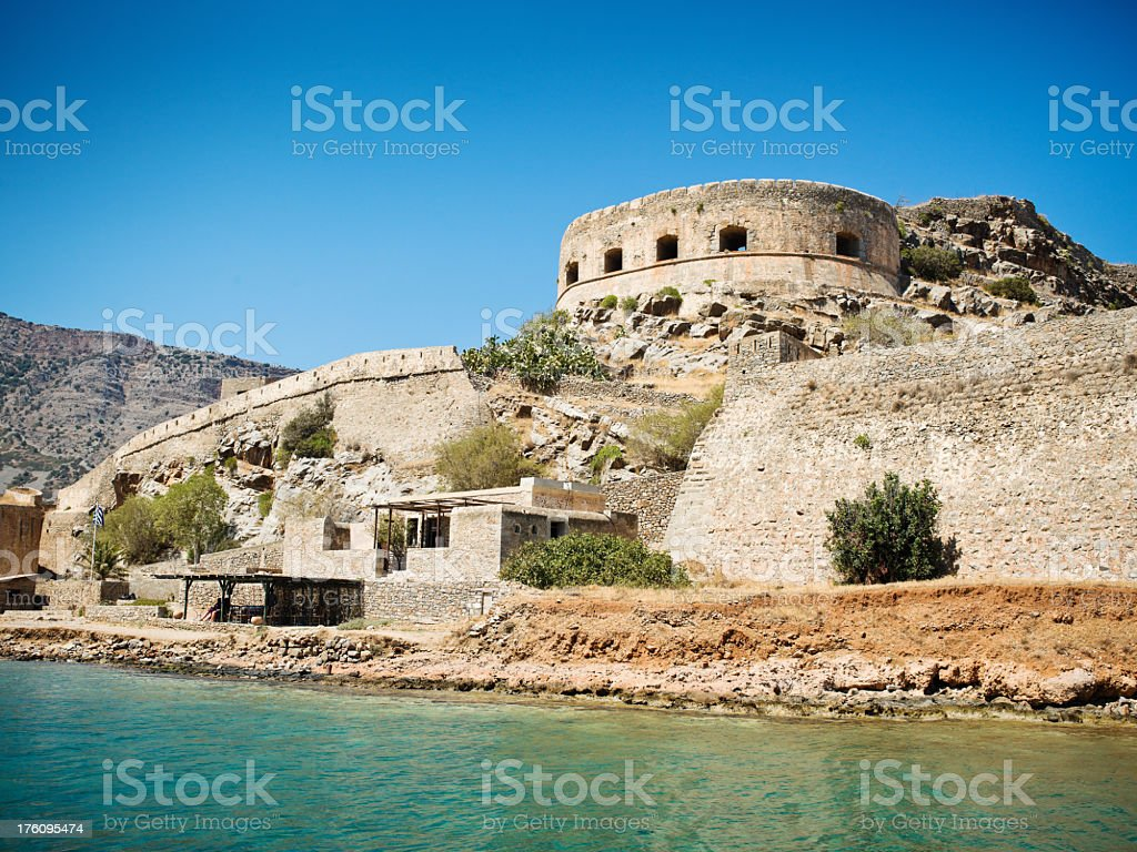 Crete Spinalonga Fortress Greece - Last Active Leprosy Colony stock photo