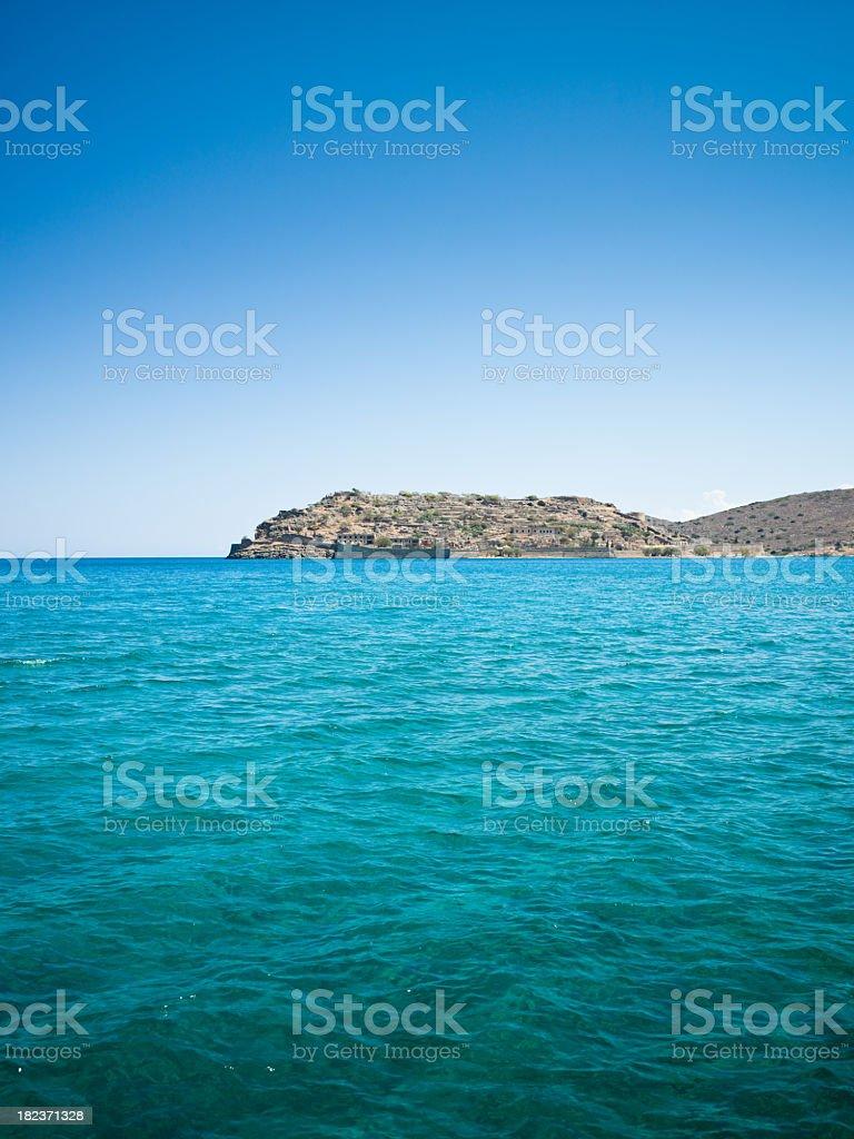 Crete View to Spinalonga Greece stock photo