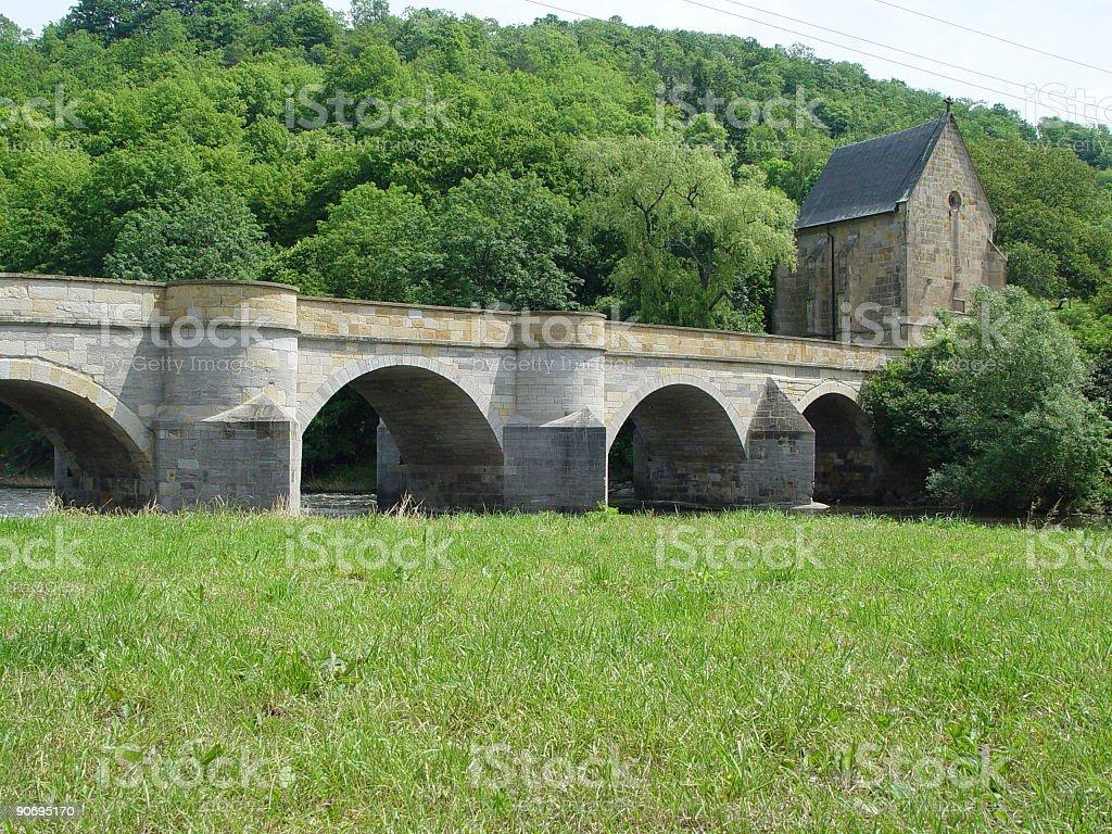 Creuzburg medieval bridge stock photo