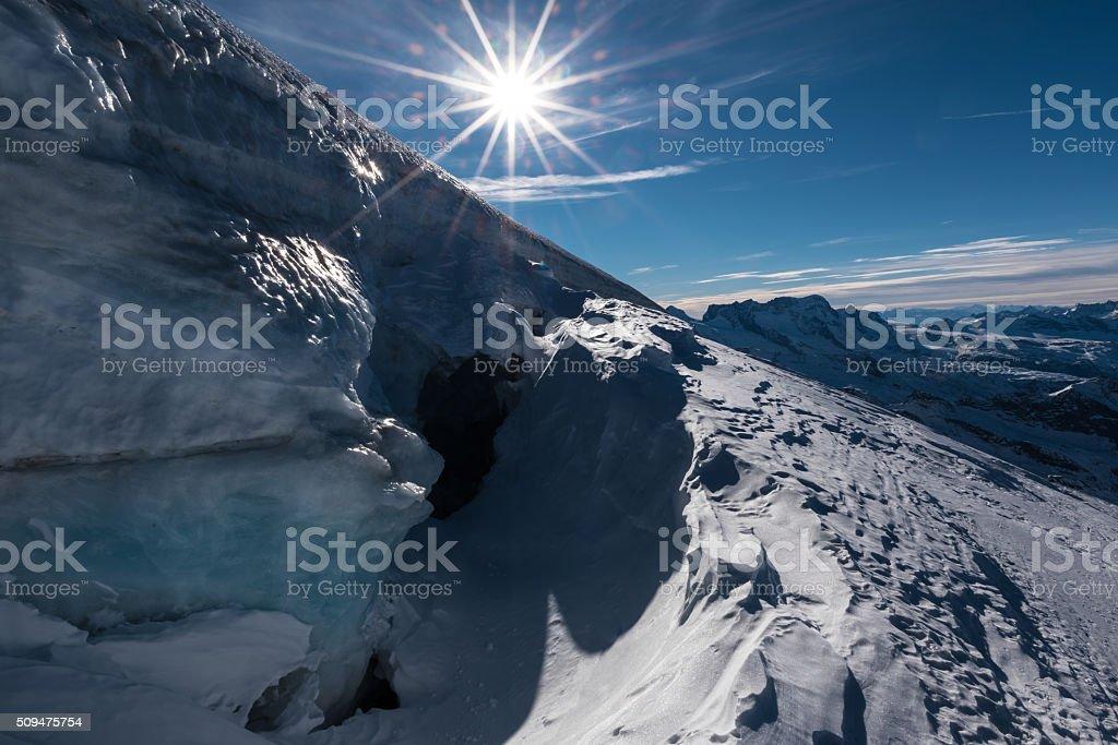 Crevasse at the Allalinhorn, Switzerland stock photo
