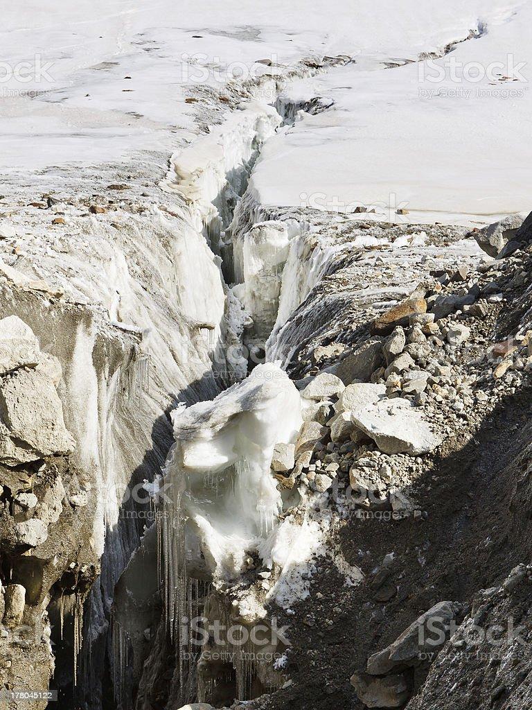 Crevasse at Vigne Glacier stock photo