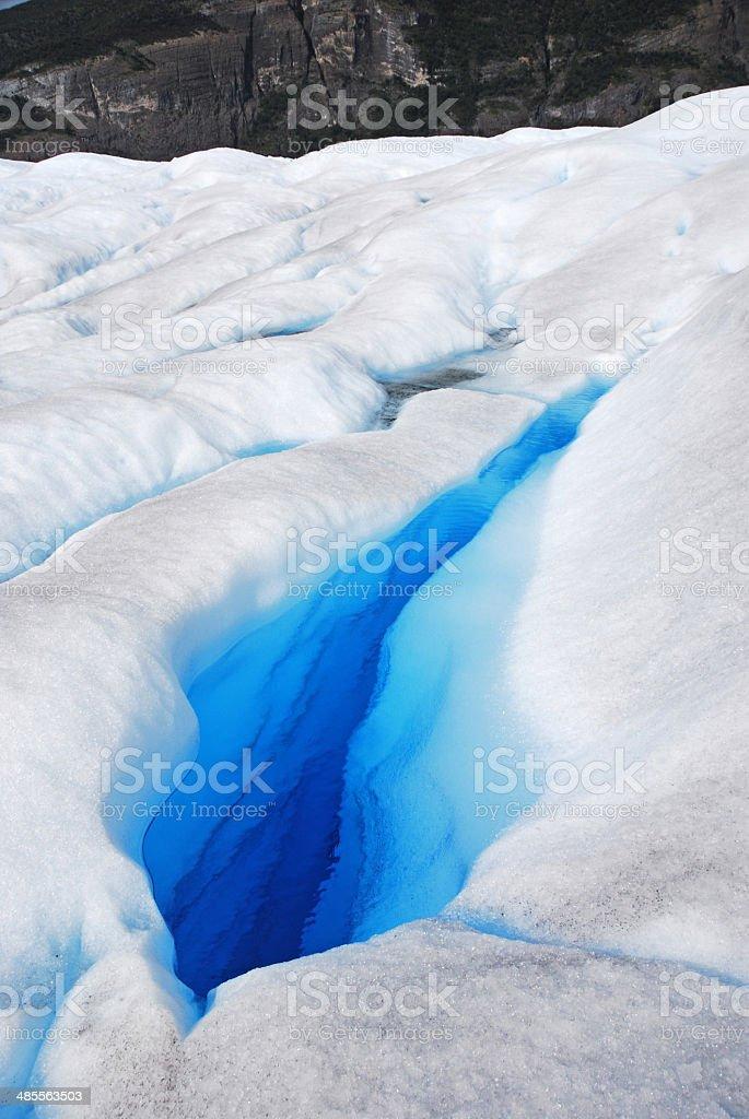 Crevasse in Perito Merino Glacier in Patagonia stock photo