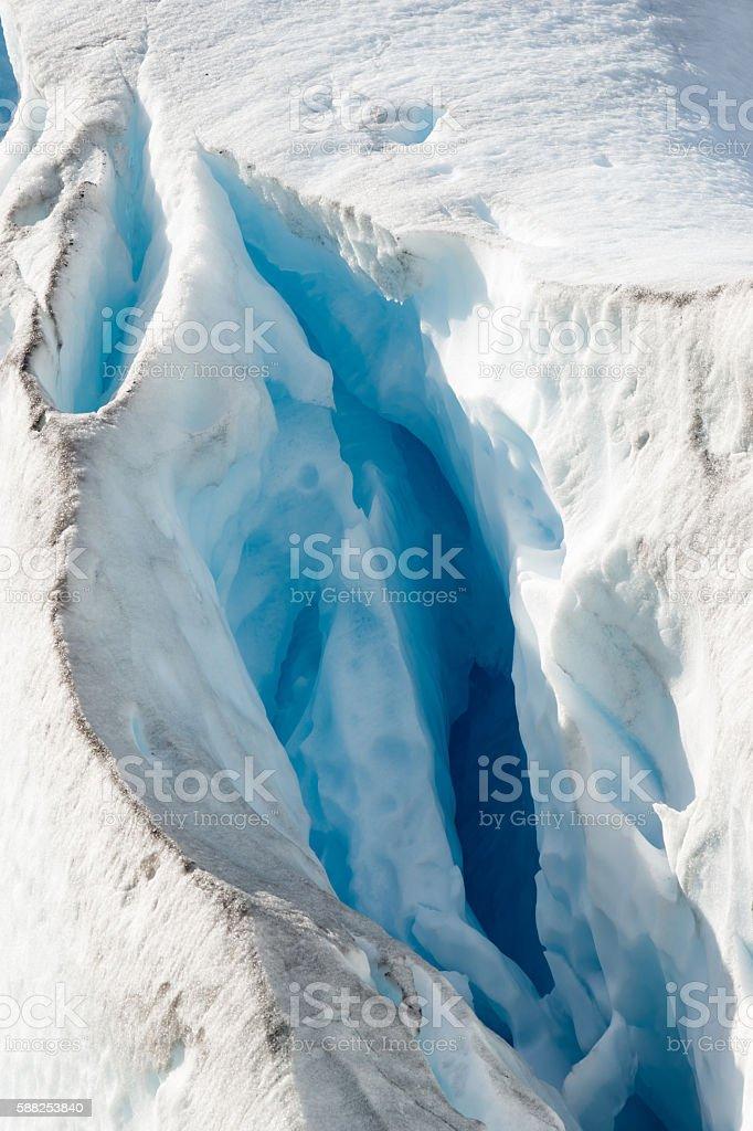 Crevasse of a Norwegian glacier stock photo