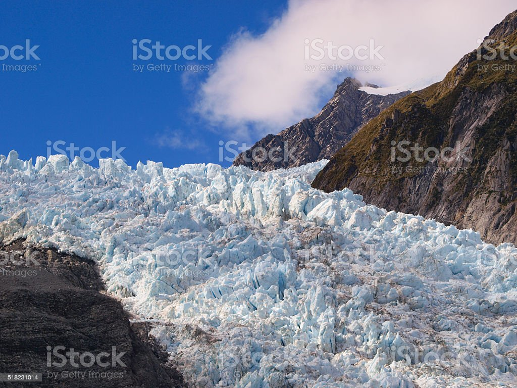 Crevasse on a glacier stock photo