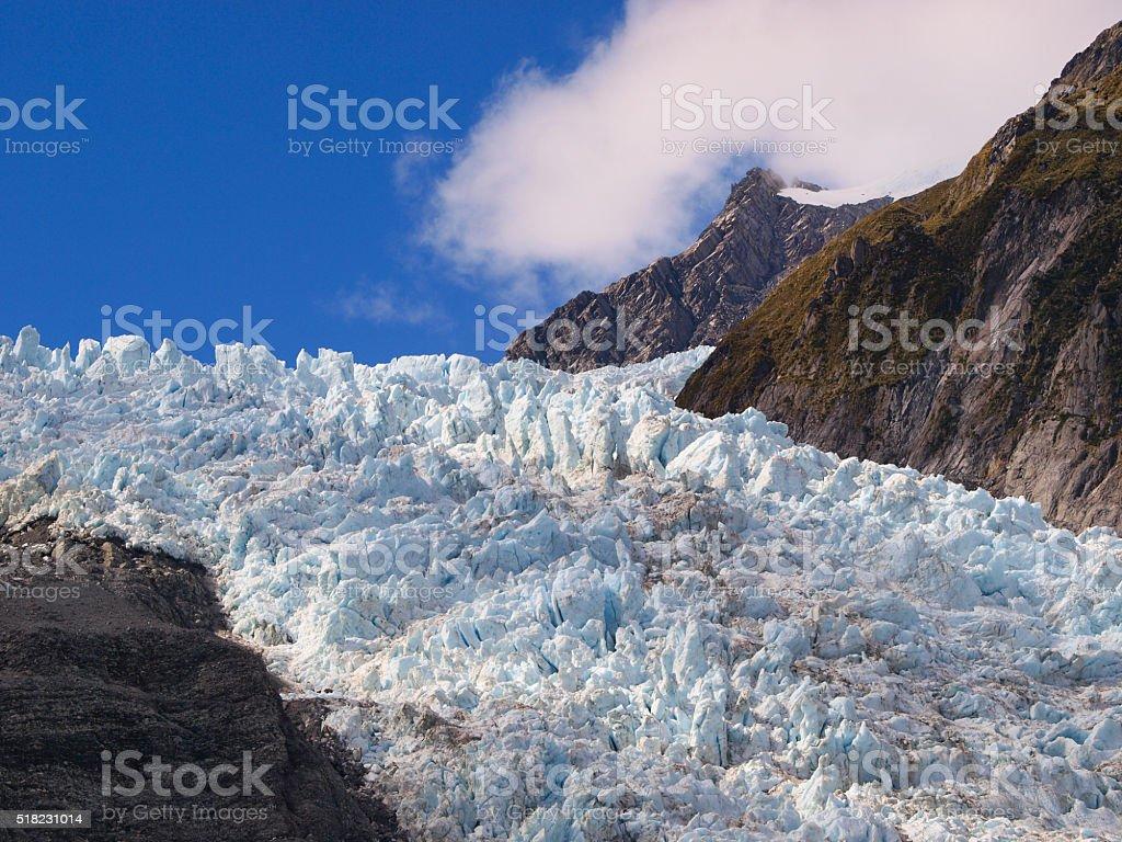 Crevasse on a glacier stock photo