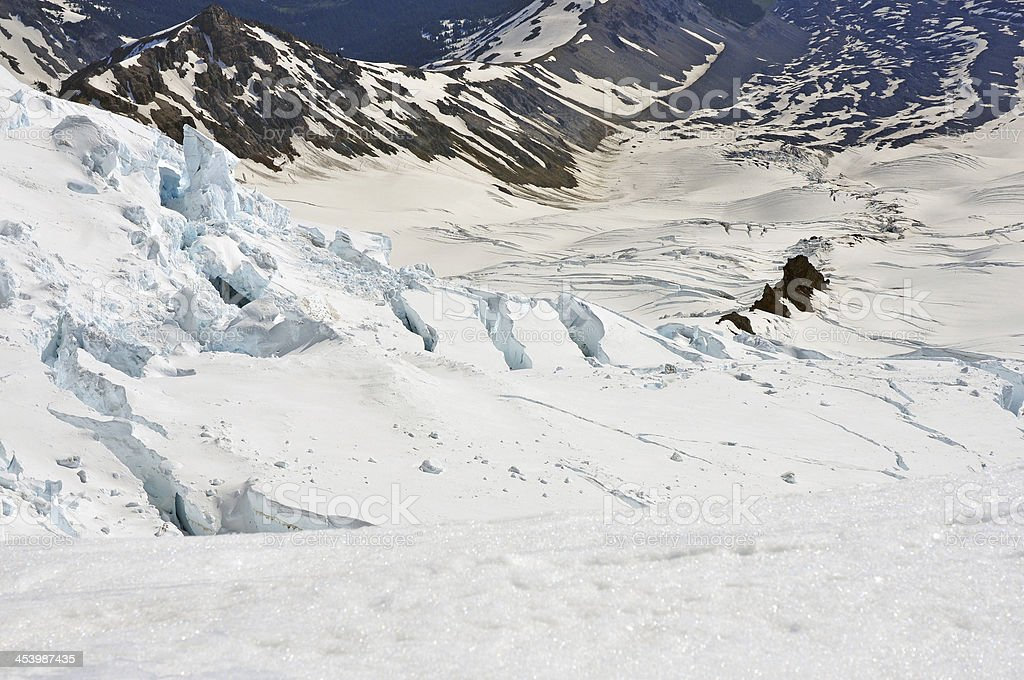 Crevassed Terrain, Mount Rainier stock photo