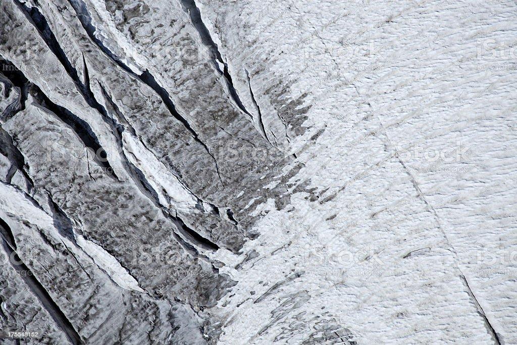 crevasses on a mountain glacier royalty-free stock photo