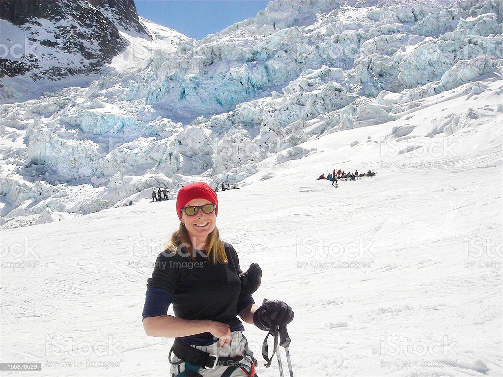Crevasses on Vallee Blanche ski run, Chamonix. royalty-free stock photo