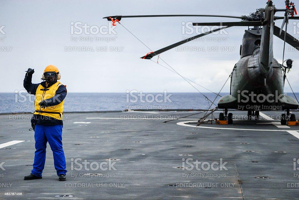 Crew chief in Heliport stock photo
