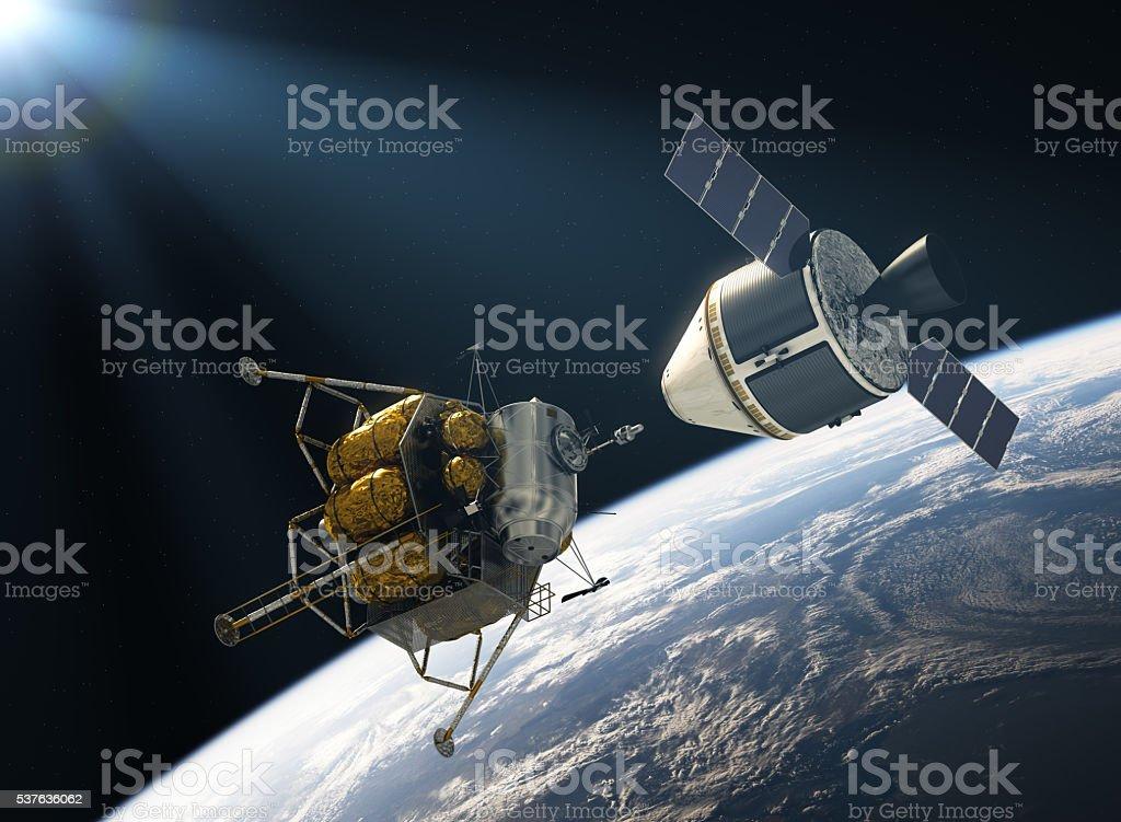 Crew Exploration Vehicle Docking stock photo