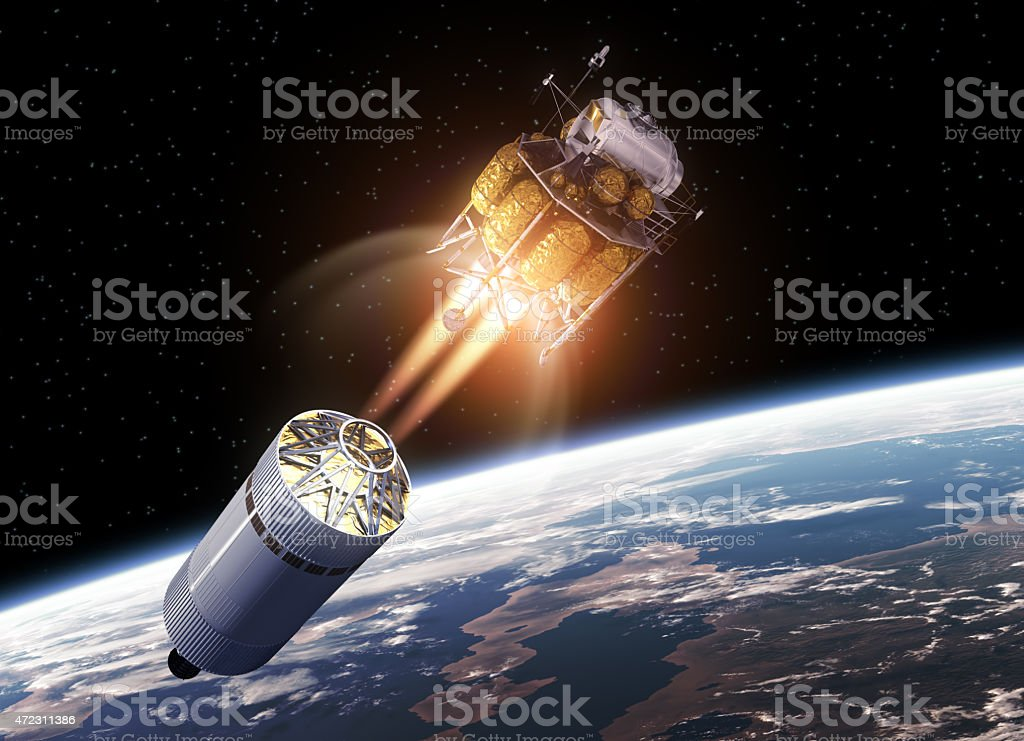 Crew exploration vehicle launching into space stock photo